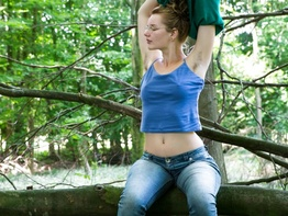 Nerdy natural amateur strip teasing in the woods