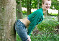 Nerdy natural amateur strip teasing in the woods #02