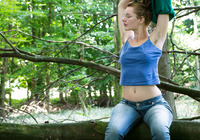 Nerdy natural amateur strip teasing in the woods #05