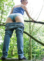 Nerdy natural amateur strip teasing in the woods #06