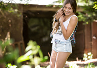 Cute perky teen Ivanna undresses herself outdoors #07
