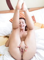 Sexy amateur Gina J playing with her meaty pussy lips #12