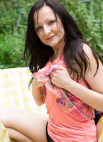 Rosalyn is showing taking down her panties and peeing outside #03