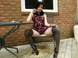 Cute teen Aria Alexander teasing in a little skirt