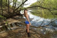 Cute brunette teen Kimmy Granger playing outdoors #01