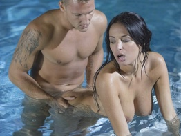 Busty brunette Anissa Kate taking it anally in the pool