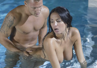 Busty brunette Anissa Kate taking it anally in the pool #08