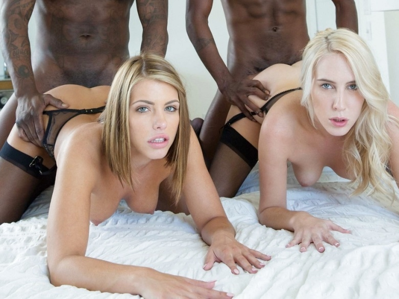 Adriana Chechik and Cadence Lux sharing two black cocks