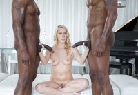 Horny blonde Cadence Lux double dicked with black cock #08