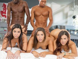 Hung black dudes take turns banging three sluts