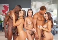 Hung black dudes take turns banging three sluts #05