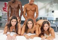 Hung black dudes take turns banging three sluts #10