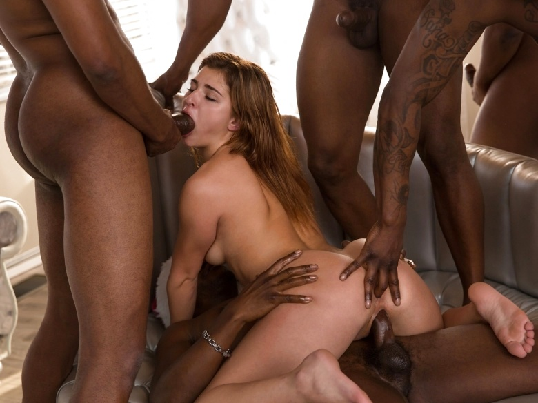 Leah Gotti in a 5 on 1 interracial gang bang by Colette