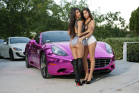 Veronica and Nina in a threesome on pink sports car #01