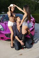 Veronica and Nina in a threesome on pink sports car #06