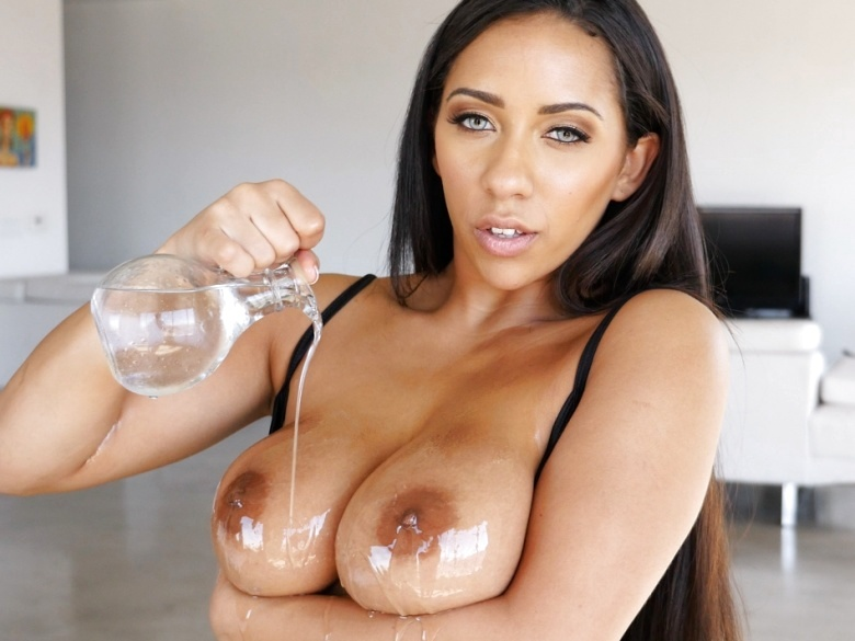 Busty exotic babe Priya Price lubed up and fucked