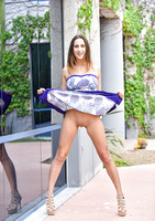 Busty FTV girl Ashley lifts her dress in public and toys #12