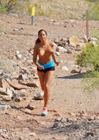 Tan babe Stacy Jay jogging naked in public view #10