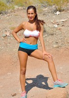 Tan babe Stacy Jay jogging naked in public view #14