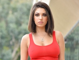 Darcie Dolce teasing in a red dress in public