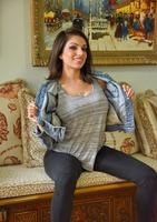 Curvy brunette Darcie Dolce strip teasing indoors #02