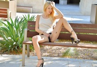 Sensual blonde Blake Eden playing with dildo in public #06