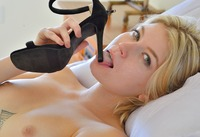 Tattooed blonde Arya teasing with her high heels #07