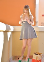 Slender babe Alana toying her pussy in public #11