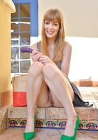 Slender babe Alana toying her pussy in public #13