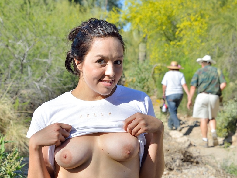 Teenage beauty Leanna jogging and playing outdoors