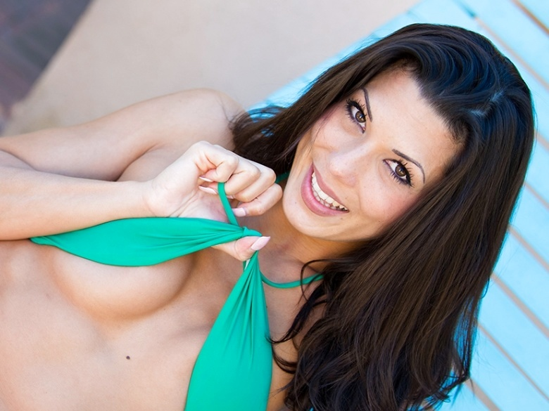Sexy milf Alexa teasing in her bikini poolside
