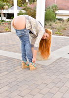 Sexy redhead milf Jayme Langford teasing in blue jeans #10