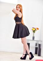 Beautiful redhead milf Jayme posing in dress and heels #05