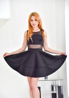 Beautiful redhead milf Jayme posing in dress and heels #06
