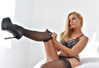 Gorgeous milf Sandy teasing in thigh high stockings #09