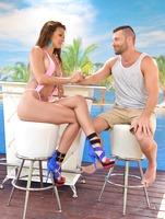 Athletic babe Susy rubbing dick with her sexy feet #01