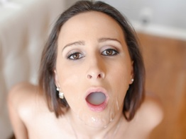 Ashley Adams gets a huge mouthful of jizz