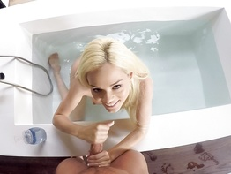 Cute blonde Elsa Jean drawing up a bath for two